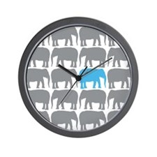 One Blue Elephant in the Herd Wall Clock