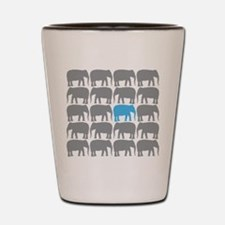 One Blue Elephant in the Herd Shot Glass