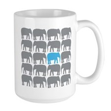 One Blue Elephant in the Herd Mugs