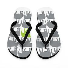 One Green Elephant in the Herd Flip Flops