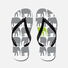 One Green Elephant in the Herd Flip Flops