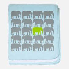 One Green Elephant in the Herd baby blanket