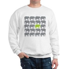 One Green Elephant in the Herd Sweatshirt