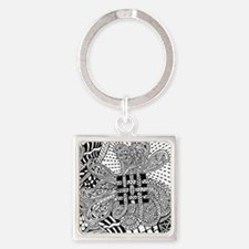 Original hand drawn Tangle Art Keychains
