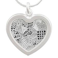 Original hand drawn Tangle Art Necklaces