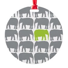 One Green Elephant in the Herd Ornament