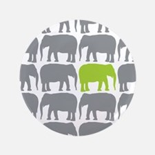 """One Green Elephant in the Herd 3.5"""" Button"""