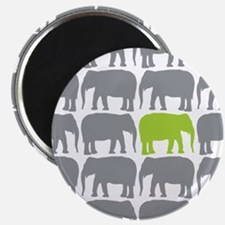 One Green Elephant in the Herd Magnets
