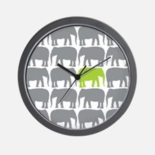 One Green Elephant in the Herd Wall Clock
