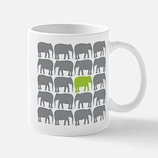 One Green Elephant in the Herd Mugs