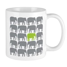 One Green Elephant in the Herd Mugs