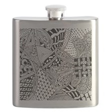 Original hand drawn Tangle Art Flask