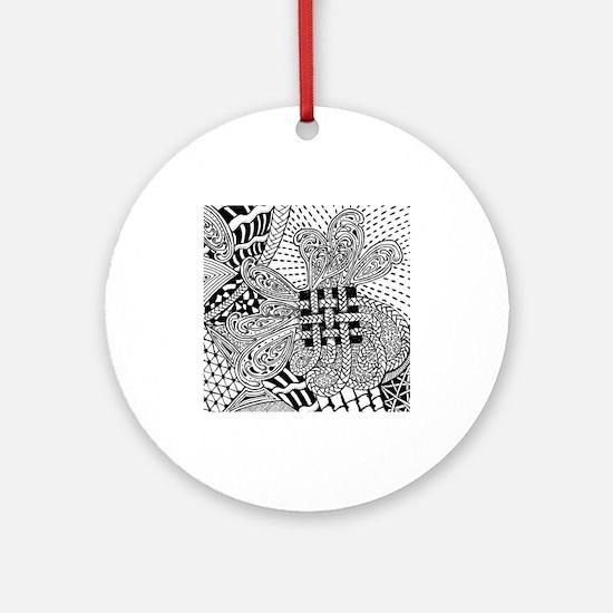 Original hand drawn Tangle Art Ornament (Round)