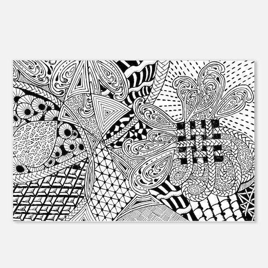 Original hand drawn Tangle Art Postcards (Package