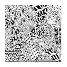Original hand drawn Tangle Art Tile Coaster