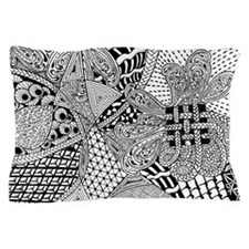 Original hand drawn Tangle Art Pillow Case