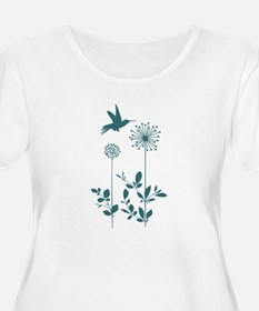 Hummingbird with flowers Plus Size T-Shirt