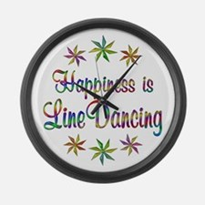 Happiness is Line Dancing Large Wall Clock