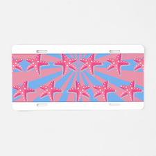 Girly pink starfish Aluminum License Plate