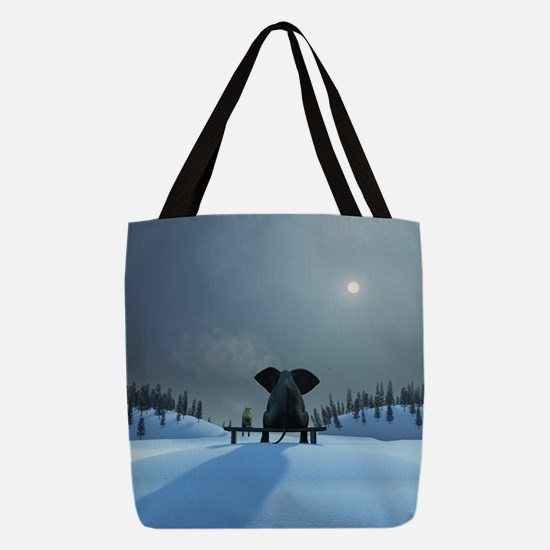 Dog and Elephant Friends Polyester Tote Bag
