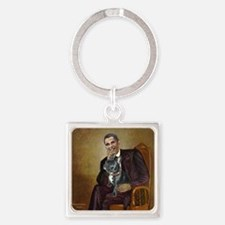 Obama - French Bulldog (BW-RedC) Square Keychain