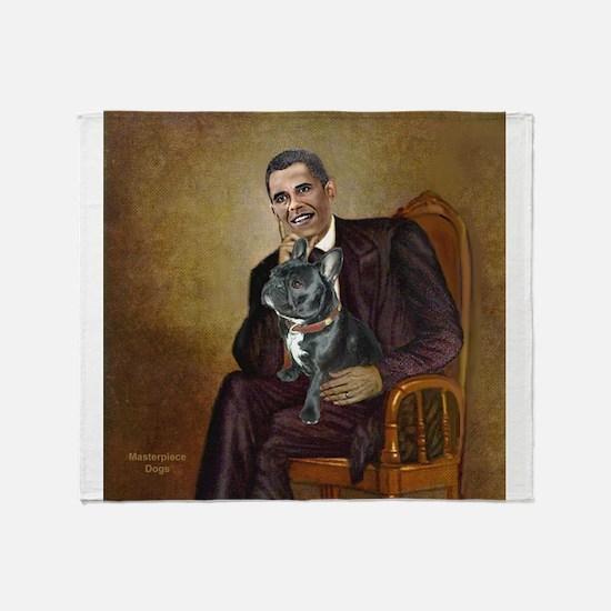 Obama - French Bulldog (BW-RedC) Throw Blanket