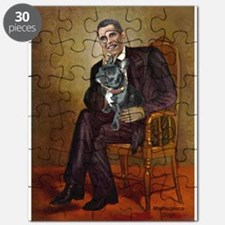 Obama - French Bulldog (BW-RedC) Puzzle