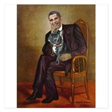 Obama - French Bulldog (BW- 5.25 x 5.25 Flat Cards