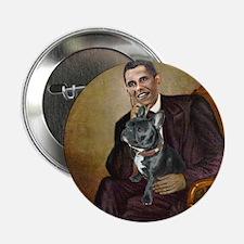 "Obama - French Bulldog (BW-RedC) 2.25"" Button"