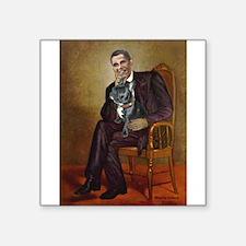 "Obama - French Bulldog (BW- Square Sticker 3"" x 3"""
