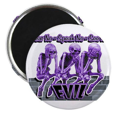 See-Speak-Hear-No EVIL Purple Magnet