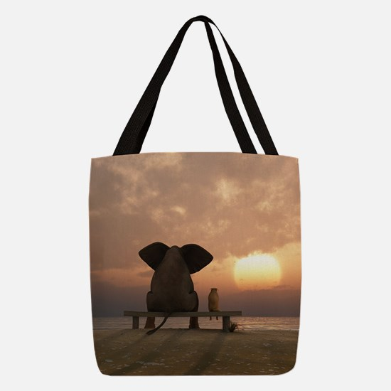 Elephant and Dog Friends Polyester Tote Bag