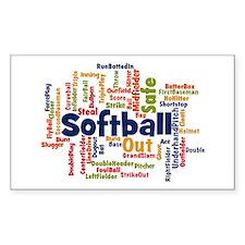 Softball Word Cloud Decal