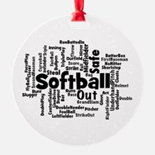 Softball Word Cloud Ornament