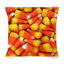 Candy Corn Halloween Shirt Woven Throw Pillow