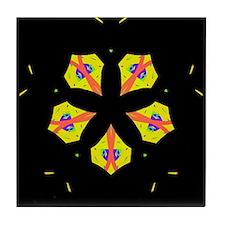 Yellow flower kaleidoscope Tile Coaster