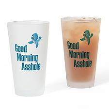 GOOD MORNING ASSHOLE BLUE BIRD Drinking Glass