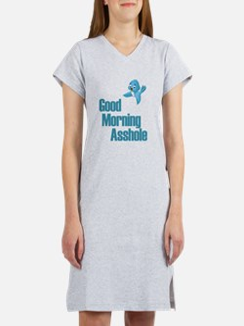 GOOD MORNING ASSHOLE BLUE BIRD Women's Nightshirt