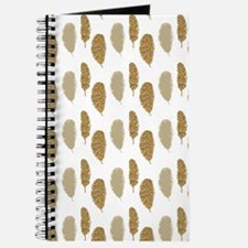 Gold Glittery Feathers Journal