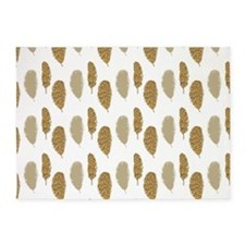 Gold Glittery Feathers 5'x7'Area Rug