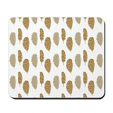 Gold Glittery Feathers Mousepad