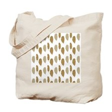 Gold Glittery Feathers Tote Bag