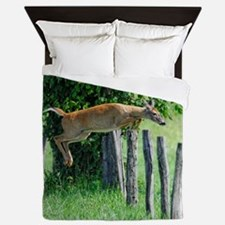 DOE DEER jumping a Fence Queen Duvet