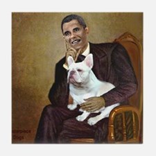 Obama-French BD (W) Tile Coaster