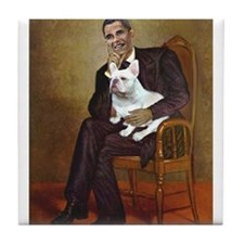 Obama-French BD (W) Tile Coaster