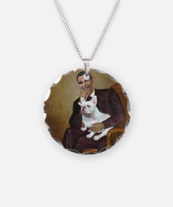 Obama-French BD (W) Necklace Circle Charm