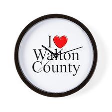 """""""I Love Walton County"""" Wall Clock"""