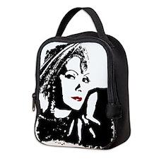 Greta in Black and White Neoprene Lunch Bag