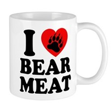 I LOVE BEAR MEAT BEAR PAW PRINT Mugs