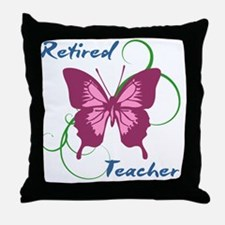 Retired Teacher (Butterfly) Throw Pillow